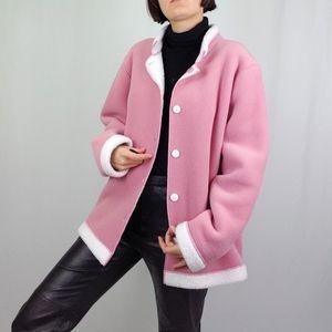 Faux shearling reversible pink jacket